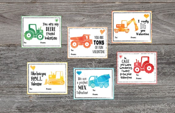 Tractor Valentine Cards : Items similar to kids valentine cards tractor and