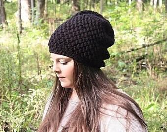 Black Slouchy Hat, Black Slouchy Beanie, Black Beanie, Black Hat, Black Crochet Hat, Black Winter Hat, Women's Black Hat, THE EMORY