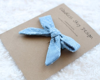 denim bow, blue hair bow, hair bows, toddler hair bow, hair bow for girls, gift for girls, bows for girls, fabric bow