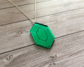 Zelda green rupee necklace - The Legend of Zelda, Nintendo, Breath of the Wild, geek, cute, japanese, Link, Ganondorf, lasercut acrylic