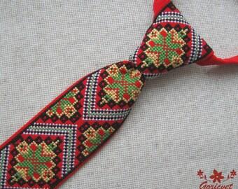 Ukrainian folk art mens tie mens gift husband gift red men necktie pre-tied tie hand embroidered special occasions anniversary gift for men