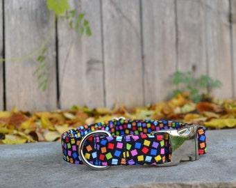 Fun Confetti Multicolored Geometric Dog Collar