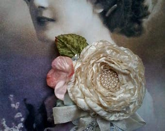 hand made ivory silk rose brooch, flower brooch, romantic rose, floral pin, mother of the bride pin,