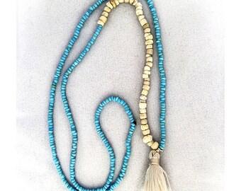 Tiny Turquoise Tassel Necklace