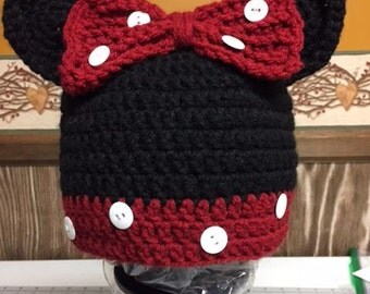 Minnie Mouse Hat/Disney Character Hat/Character Hat/Girl's Hat