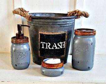 mason jar bathroom set 4 piecerusticgrey galvinized waste basket - Bathroom Accessories Etsy