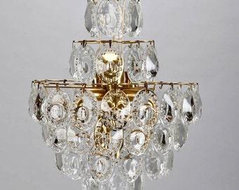 REDUCED Mid-Century Modern Kinkeldey Suspended Glass Disks and Brass Light Fixture [6444]