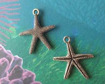 10 Starfish Charms Silver - CS2744