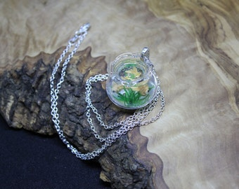 Doll house 1:12th miniature, portable 'Goldfish in a bowl' necklace! Hand made, Unique, one of a kind.