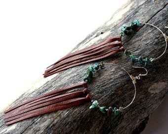 Boho Hoop Leather Fringe Earrings - Crystal Gemstone Hoop Earrings - Statement Hoop Earrings - Amethyst Hoop Earrings - Leather Fringe Hoops