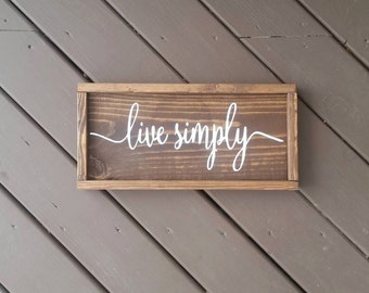 Live Simply Wood Sign, Framed Wood Sign, Wood Signs, Signs, Rustic Decor, Rustic Wood Signs, Home Decor, Wall Decor, Wall Hangings