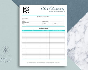 Text Only Order Form Line Sheet TEMPLATE For Wholesale Orders | Word  Template | Printable 8.5  Order Form Layout
