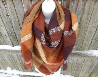 Brown Multi Color Blanket Scarf