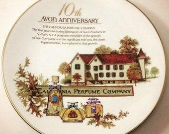 Avon 10th Anniversary Decorator Plate Perfume Autumn Leaves  22k Gold Trim
