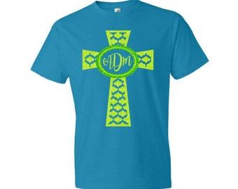Glitter Monogram Shirt|Glitter Monogram Cross Tee|Adult Monogram Tee