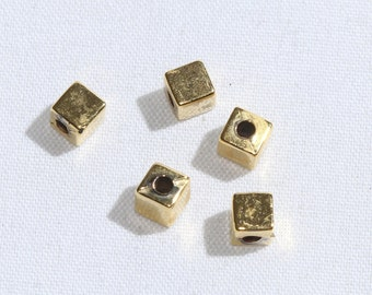 Gold Plated Cube Beads, Gold Plated Cube Charms, Golden Cube Beads, Cube Charms,Tiny Spacer Beads,Metal Beads