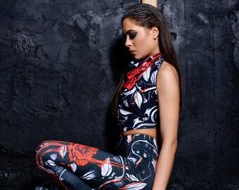 Floral Leggings, black leggings, Gothic leggings, printed leggings, boho leggings, women leggings, art leggings, boho pants, Festival wear