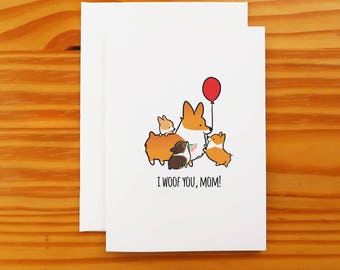 "I Woof You Mom Greeting Card | 5x7"" Card with Envelope 