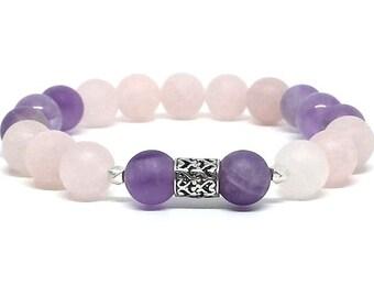 Single wrap Amethyst/ Rose Quartz w/ Bali Silver bracelet,Gemstone bracelet, Gifts for her, Birthday gift, Graduation gift