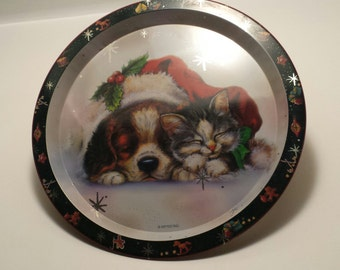CLEARANCE Vintage Cat And Dog Christmas SERVING TRAY, Puppy And Kitten Serving Tray, Christmas Decor, Vintage Metal Serving Tray