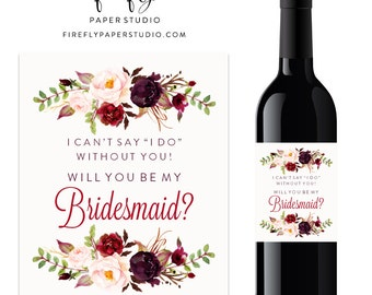 Will You Be My Bridesmaid Wine Label, Bridesmaid Proposal Wine Label, Bridesmaid Gift, Maid of Honor Wine Label - (FPS0050)