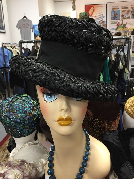 Vintage 1960s Black Straw Rafield Hats of Character Hat