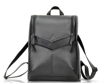 Black Leather Backpack for Men | Large Laptop Backpack | Rigorous Futuristic Conceptual Bag