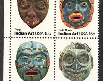 1980 Native American Masks Postage Stamps Unused Block