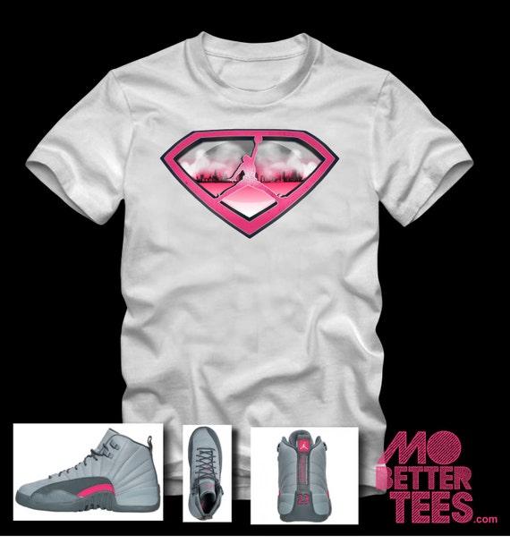 """Air Jordan 12 GS Art on T-Shirt made to match Air Jordan 12 """"Fine Pink"""""""