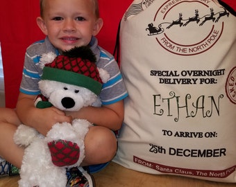 Personalized Santa Sack Large Canvas Santa Bag. Add child or family name for a custom toy or gift bag for Christmas! 10% off code inside.