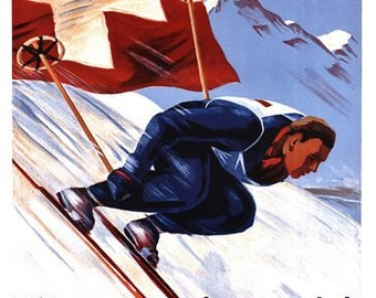 Vintage 1940 Swiss Downhill Skiing Championships  Poster A3/A2/A1 Print