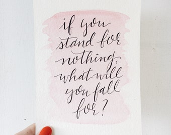 "If You Stand For Nothing, What Will You Fall For? // Handlettered ""Aaron Burr"" Lyrics with Watercolor // Hamilton the Musical"