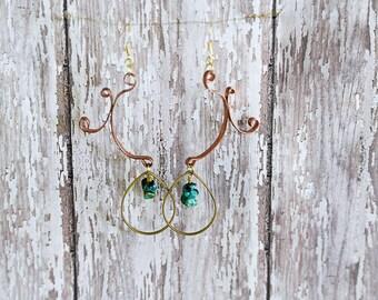 Copper and Turquoise Handmade Artisan metal earrings, drop earrings, dangle earrings, Bohemian Jewelry, Modern Tribal, Wedding earrings