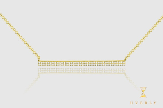 14k Solid Yellow White Rose Gold Diamond Thin Bar Women's Necklace