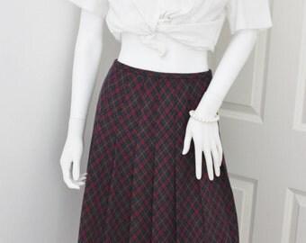 Tartan pleated skirt, plaid midi skirt, preppy plaid skirt, 1980's midi skirt, vintage skirt, high waist skirt, box pleat skirt, secretary