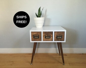 Handmade card catalog table, mid century end table, mid century side table, mid century table, mid century modern