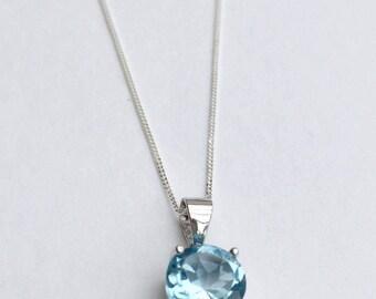 Topaz necklace, sky blue topaz pendant, 925 sterling silver topaz necklace, silver topaz pendant, gemstone necklace, gemstone pendant