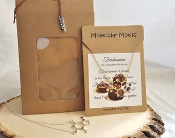 Sleek Design Chocolate Lover's Theobromine Molecule Necklace Science Chemistry Jewelry Gifts