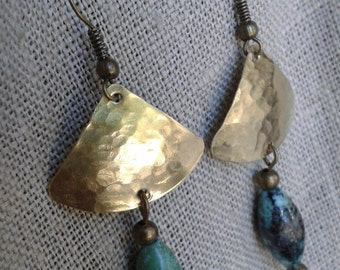 Boho earrings, turquoise earrings, turquoise earrings, earrings, brass