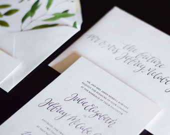 Letterpress Wedding Invitation Suite with Custom Calligraphy Design