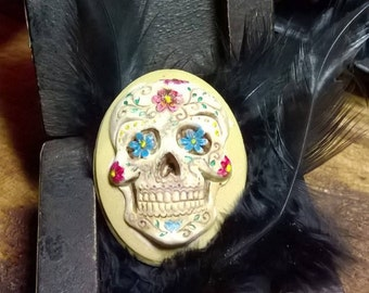 Gothic Muerto Sugar Skull Mexican Colourful flowers Lolita Cosplay  Muerto Day of The dead Brooch or Hatpin Handmade