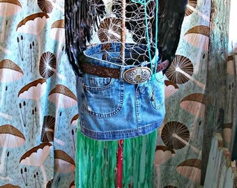 Fringed, fun, festival, jean, mini, long, torn, green muslin train, sexy short front will show your tan legs, Burning Man worthy!