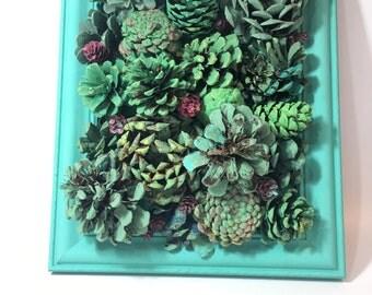 Wall Hanging Garden/ Faux Succulent Garden/Pine Cone Succulents/ Succulent  Wall/Vertical