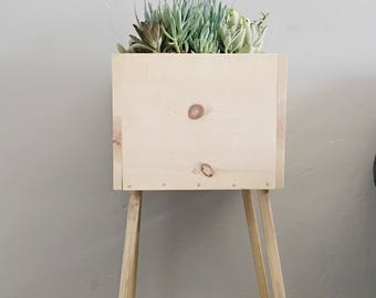 Wood planter box|standing planter box| Rustic Planter Box