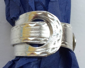 Sterling silver sugar tong buckle ring