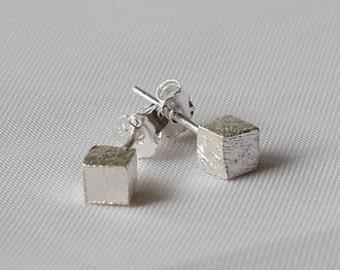 925 Silver earrings mini cube