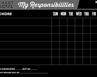 Chalkboard Chore Chart Calendar with Rewards for Children, Teens, and Adults.