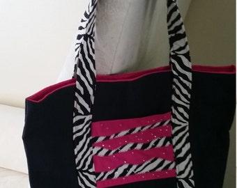 Pink and Black Zebra Tote Bag