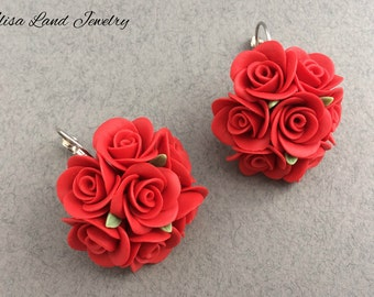 Red rose earrings, Round flower earrings, Polymer clay jewelry, Gift for her, Floral jewelry, Rose round red earrings, Girls prom earrings