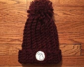 Crocheted Burgundy Beanie